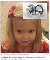 【海外発!Breaking News】ボタン電池誤飲で2歳児死亡 祖父母の家で(米)