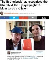 【海外発!Breaking News】「空飛ぶスパゲッティ・モンスター教会」ついに正式な宗教に(オランダ)