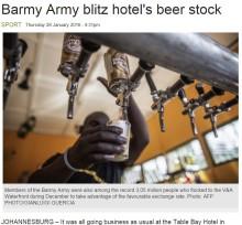 【海外発!Breaking News】クリケット英チームのサポーター、南アフリカで観戦 ホテルのビールが空に