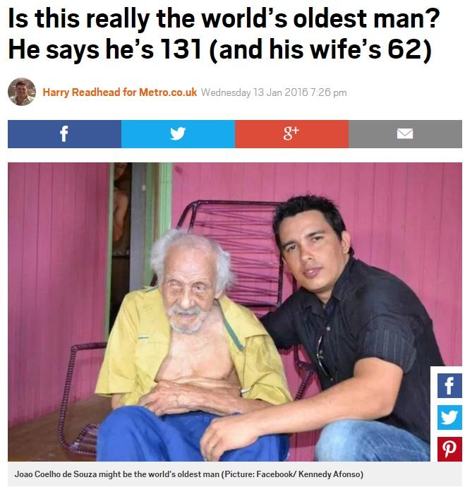 131歳だというブラジルの男性(出典:http://metro.co.uk)