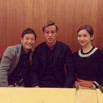 【エンタがビタミン♪】紗栄子が緊張!? 本田圭佑選手を囲んで前澤氏とスリーショット