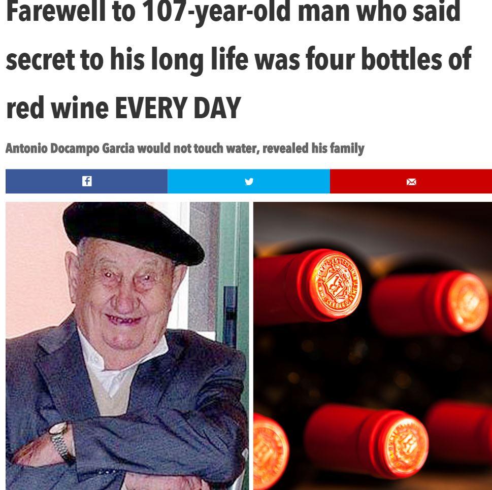 ワインがぶ飲みも107歳まで生きた男性(出典:http://www.thesun.co.uk)
