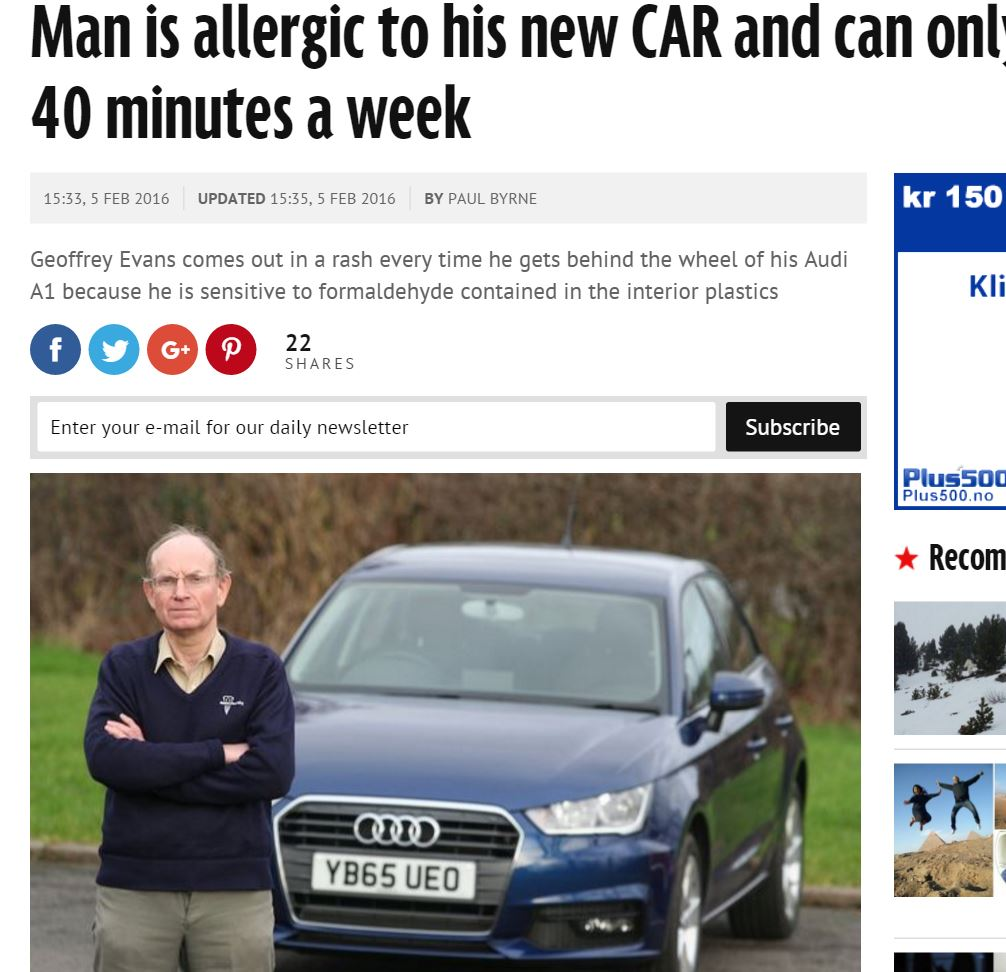 【海外発!Breaking News】車の内装でアレルギー症状 英男性、新車購入も週1回しか運転できず