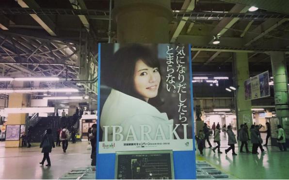 磯山さやかが飾る茨城観光キャンペーンのポスター(出典:https://www.instagram.com/sayakaisoyama)