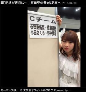 目で訴える石田亜佑美(出典:http://ameblo.jp/morningmusume-10ki)