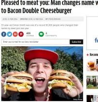 【海外発!Breaking News】大好きな「チーズバーガー」に全面改名した33歳英男性 婚約者は…!?
