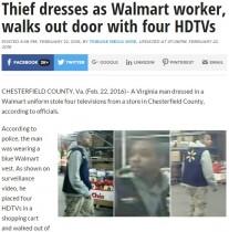 【海外発!Breaking News】米ウォルマート、ニセ従業員がテレビ4台盗む ユニフォームには名札まで