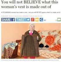 【海外発!Breaking News】立派な手編みのベスト 素材は20年かけて集めた…(ルーマニア)
