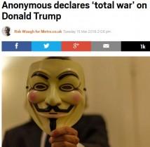 【海外発!Breaking News】トランプ氏に国際ハッカー集団・アノニマスが宣戦布告「総力戦で封じ込める!」