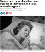 【海外発!Breaking News】女性には男性よりも長い睡眠時間が必要(英)