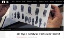【海外発!Breaking News】別人の指紋で誤認逮捕 無実の罪で411日間拘束された男性(南ア)
