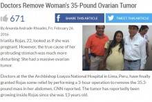 【海外発!Breaking News】22歳女性に16kgもの卵巣腫瘍 摘出手術が成功(ペルー)