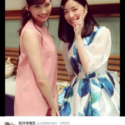 【エンタがビタミン♪】松井珠理奈 大政絢との2ショットに「美しすぎますっ」
