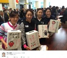 【エンタがビタミン♪】古閑美保、上田桃子ら女子ゴルファーが街頭募金「顔晴ろう! 熊本!!」
