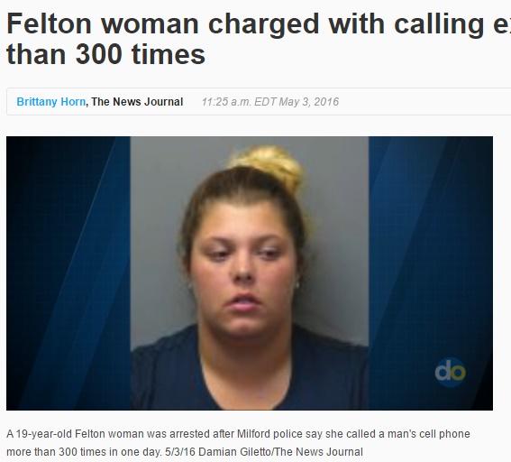 ストーカー行為で19歳女が逮捕(出典:http://www.delawareonline.com)