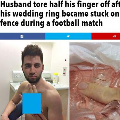 【海外発!Breaking News】サッカーの試合中にフェンスに絡め薬指失う(英)