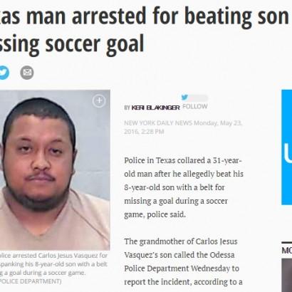 【海外発!Breaking News】少年サッカー試合でゴールキック失敗 8歳息子に「鞭打ち」した鬼父(米)