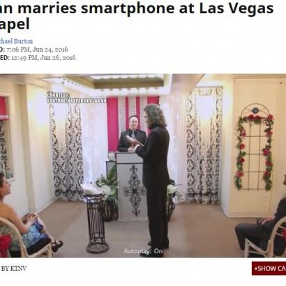 【海外発!Breaking News】「男性×スマホ」前代未聞の結婚式 米ラスベガスのミニ礼拝堂で