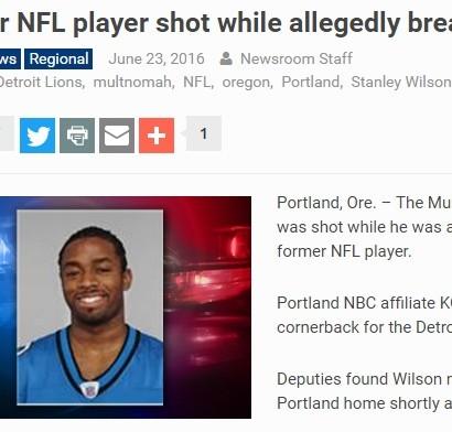 【海外発!Breaking News】名門大学出身の元NFL選手、全裸で住居侵入し撃たれる