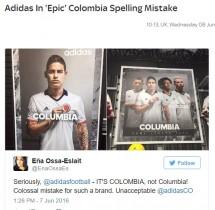 【海外発!Breaking News】アディダス社 コロンビア代表チームの広告で痛恨のスペルミス!
