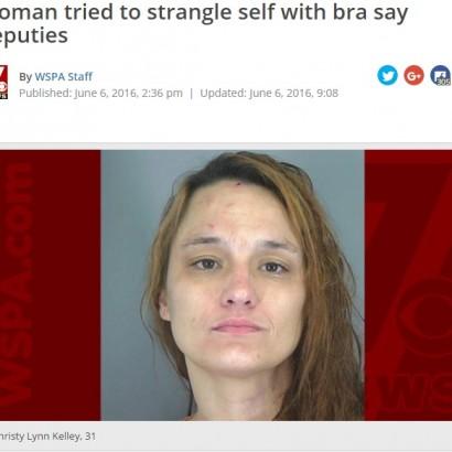 【海外発!Breaking News】逮捕された女 パトカーでブラジャーを首に巻き自殺未遂(米)