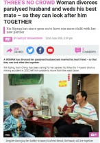【海外発!Breaking News】下半身不随となった夫と離婚しその親友と再婚 驚きの理由に人々感動(中国)