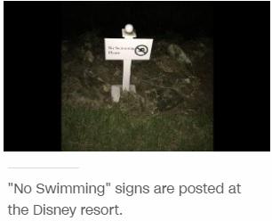 「遊泳禁止」の看板があるリゾート内(出典:http://edition.cnn.com)