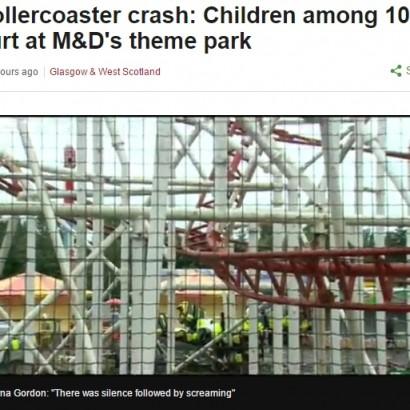 【海外発!Breaking News】ジェットコースター脱線落下で10名救急搬送 スコットランドの遊園地で