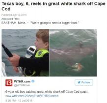 【海外発!Breaking News】6歳児の釣り竿にホホジロザメ! マサチューセッツ州ケープコッド沖で