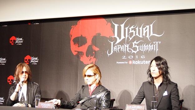 記者発表会に出席したSUGIZO、YOSHIKI、TAKURO