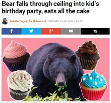 【海外発!Breaking News】クマが天井からズドン! 子供の誕生パーティをクラッシュ(米)