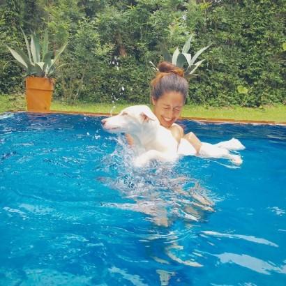 【エンタがビタミン♪】森泉、自宅プール?で保護犬の水泳特訓中