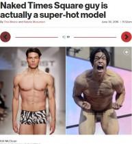 【海外発!Breaking News】全裸のイケメンモデルNYタイムズスクエアで大騒ぎ ヴェルサーチ、D&Gも起用!