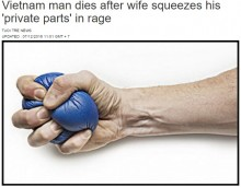 【海外発!Breaking News】別居中の妻、夫の睾丸を握りしめて死なせる(ベトナム)