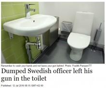 【海外発!Breaking News】警察官、実弾入り拳銃をトイレに置き忘れる その呆れた釈明とは(スウェーデン)