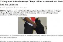 【海外発!Breaking News】「恋人ができないのはコレのせい」18歳男性が局部を切断 ニワトリのエサに(ケニア)