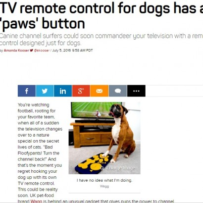 【海外発!Breaking News】世界初、犬向けTVリモコンが誕生 マットタイプで肉球にフィット(英)