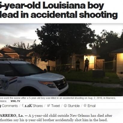 【海外発!Breaking News】クローゼットに隠した銃で遊んでいた 9歳兄が5歳弟を撃ち殺す(米)
