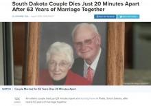 【海外発!Breaking News】63年連れ添った夫婦、20分差で息を引き取る さらなる不思議な現象も(米)