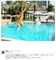 """【エンタがビタミン♪】浅田舞が""""ビキニでジャンプ"""" リゾートでの大胆ショットに「さすがアスリート」"""