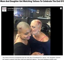 【海外発!Breaking News】乳がん治療を終えた母とお揃いのタトゥーを彫った娘(米)