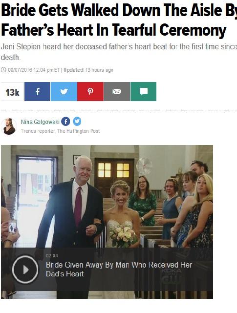 【海外発!Breaking News】亡き父の心臓を持つ男性とヴァージンロードを歩いた花嫁(米)