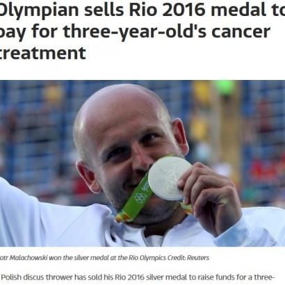 """【海外発!Breaking News】リオで""""銀""""獲得したポーランドの選手、悪性腫瘍の男児を救うためメダルを競売に"""