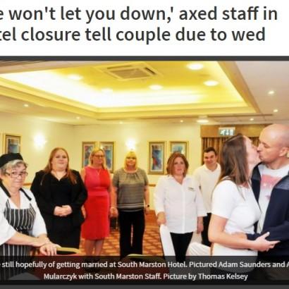 【海外発!Breaking News】披露宴の2日前にホテルが閉鎖 解雇された従業員が無報酬で実現させる(英)