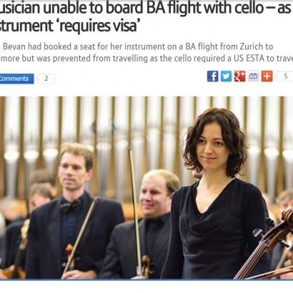 【海外発!Breaking News】「渡米するなら楽器にもESTA認証を」 チェロを抱えたスイス人搭乗できず