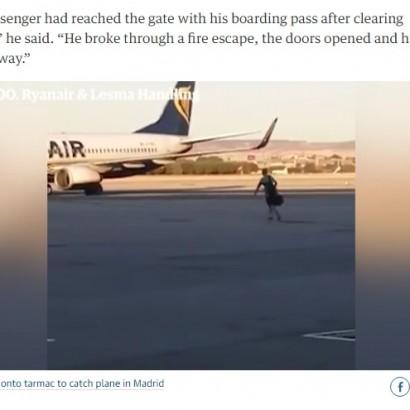 【海外発!Breaking News】乗り遅れた男、滑走路を走って飛行機を追いかける(スペイン)