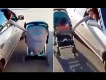 【海外発!Breaking News】仰天動画カザフスタンから ベビーカーを自動車に横付けして走る母親!