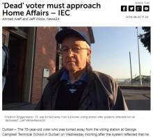 【海外発!Breaking News】選挙投票所で発覚 「死亡登録」されていたため投票できなかった75歳男性(南ア)