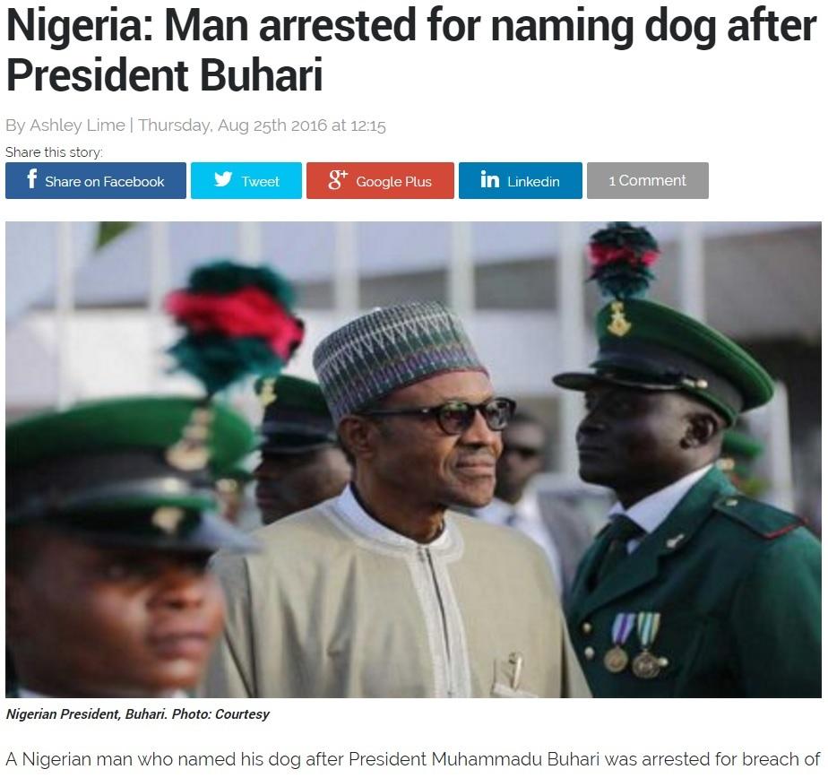 【海外発!Breaking News】飼い犬に大統領の名前を付けた男、治安妨害で逮捕(ナイジェリア)