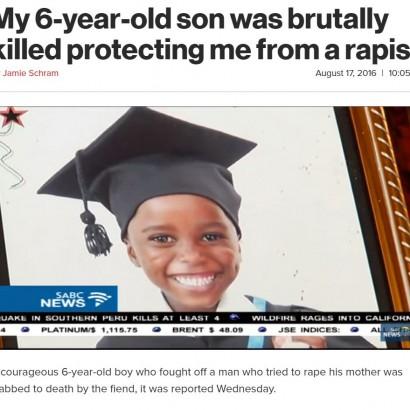 【海外発!Breaking News】レイプ犯から母親を守ろうとした6歳男児、殺される(南ア)